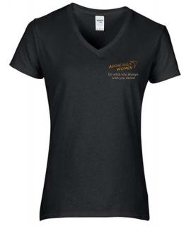 Audacious Women Black V-Neck T-Shirt